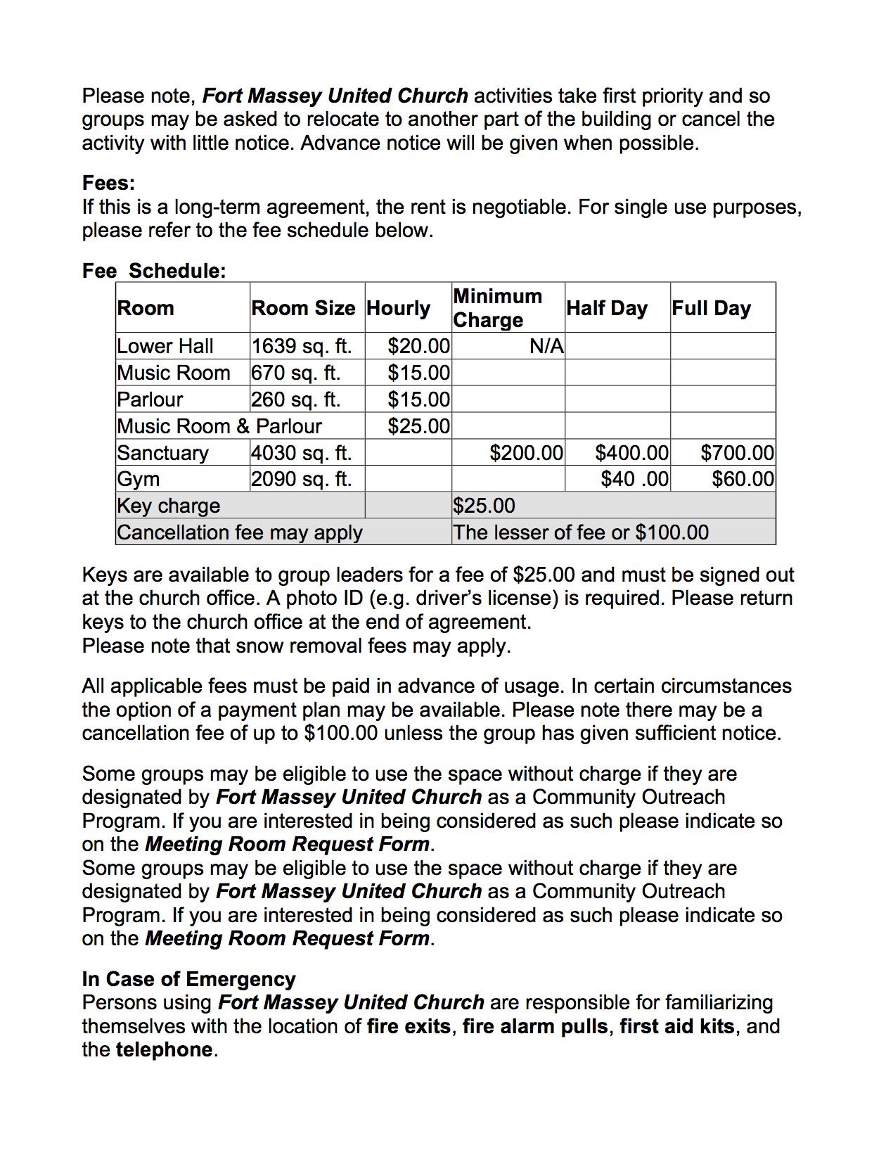 Fort Massey United Church Of Canada Sunday Bulletins